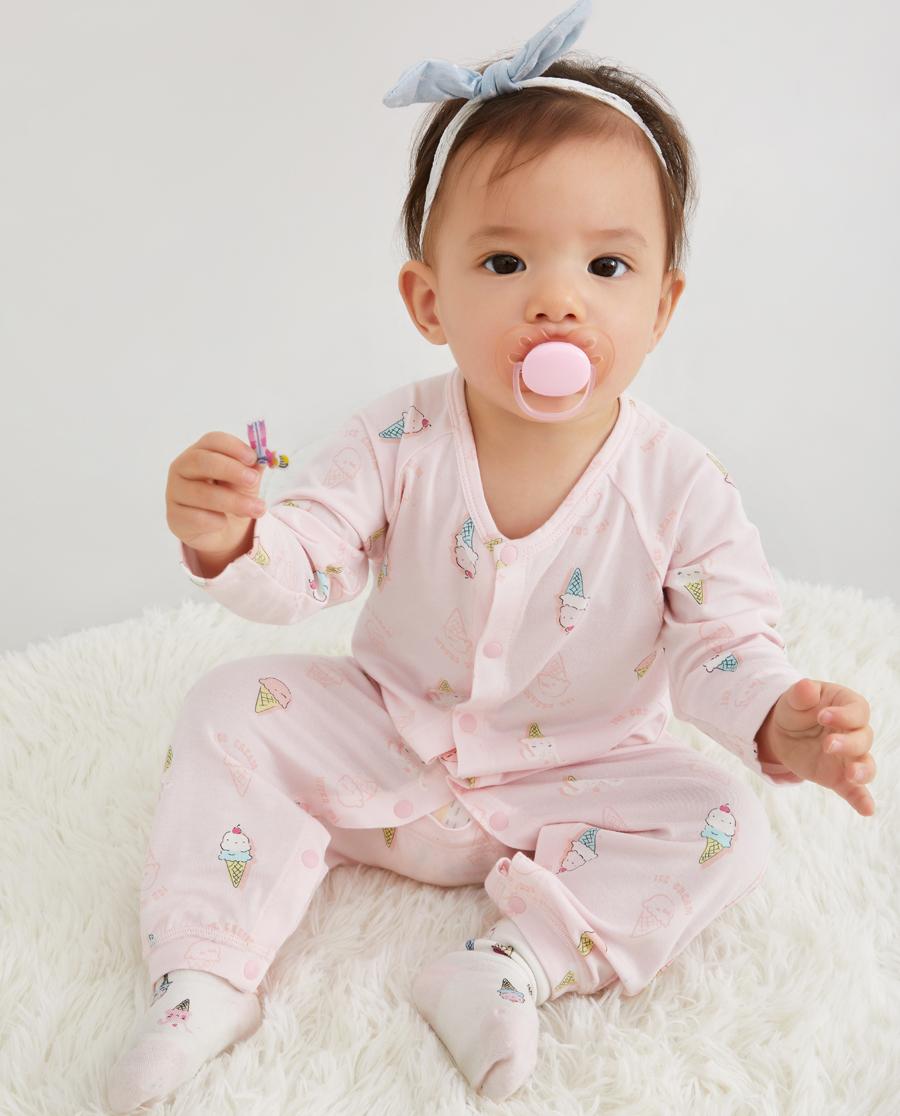 Aimer Baby睡衣|爱慕婴儿小兔冰淇淋女婴幼长袖连体爬服AB1454701