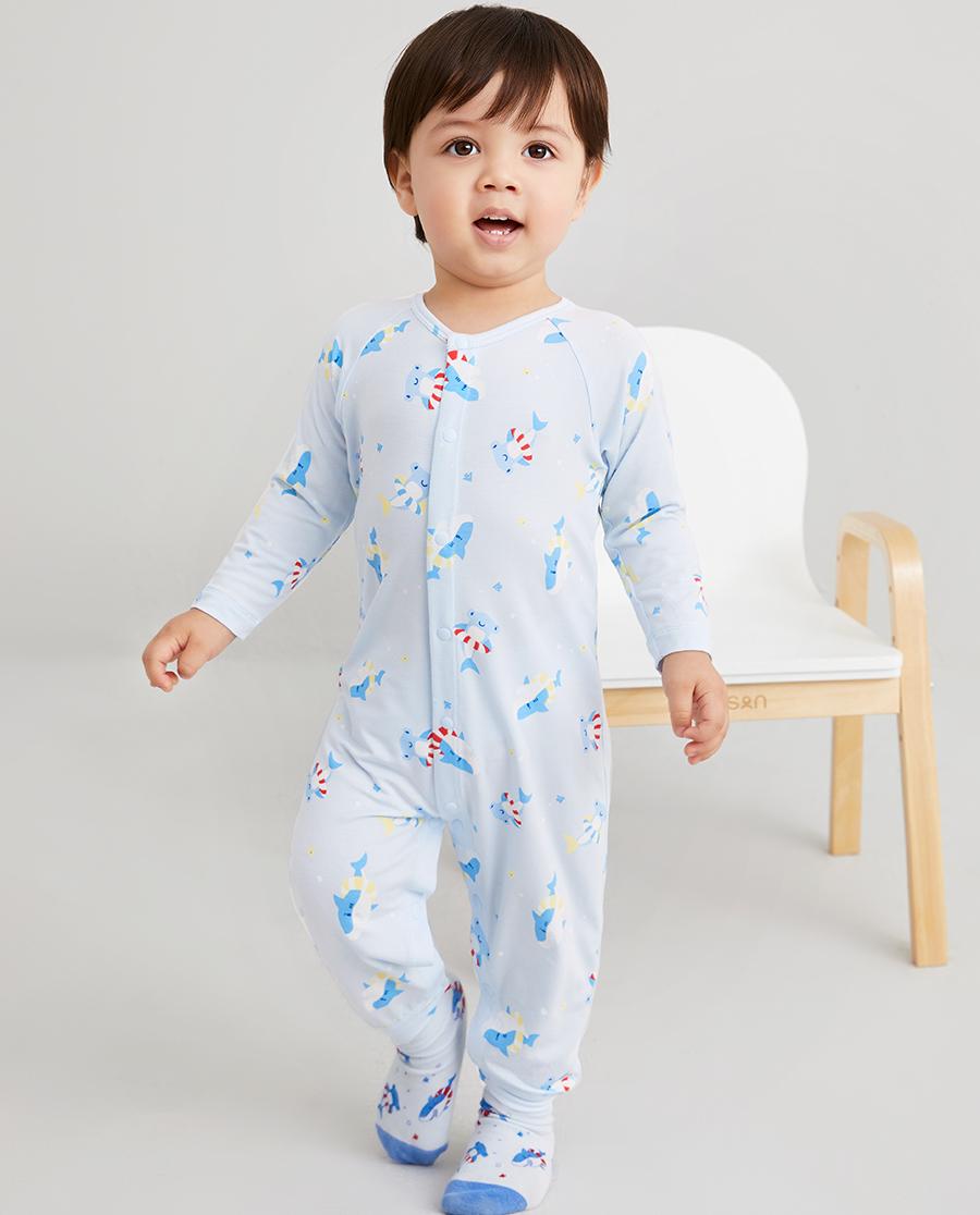 Aimer Baby睡衣|爱慕婴儿鲨鱼游记男婴幼长袖连体爬服AB2454691