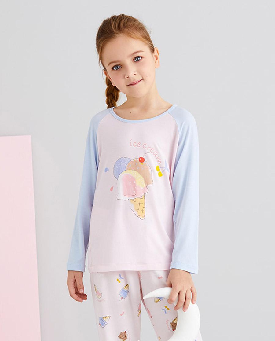 Aimer Kids睡衣|爱慕儿童樱桃冰淇淋女孩套头长袖睡衣AK1415101
