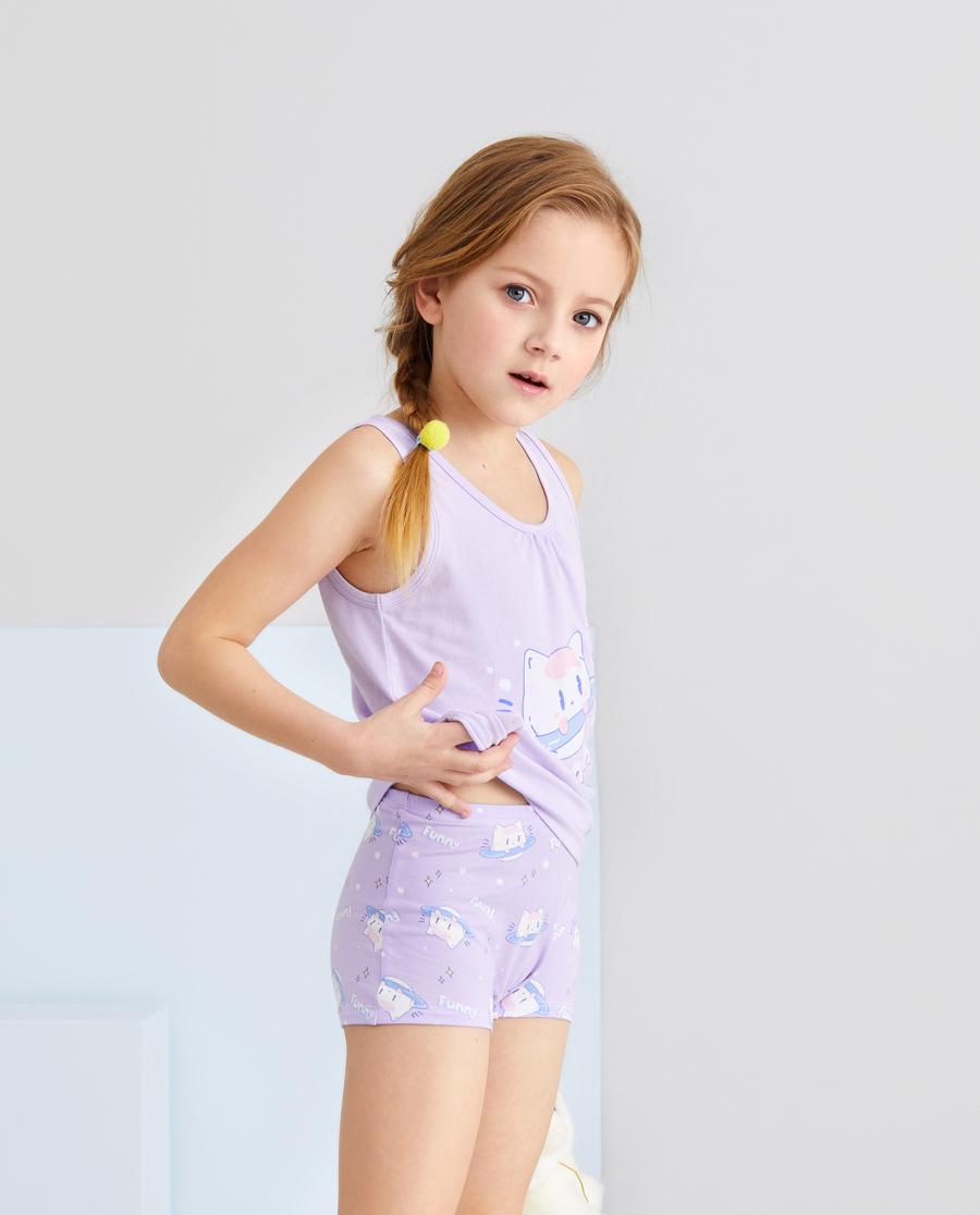 Aimer Kids内裤|爱慕儿童天使小裤棉氨纶印花女孩喵星喵语中