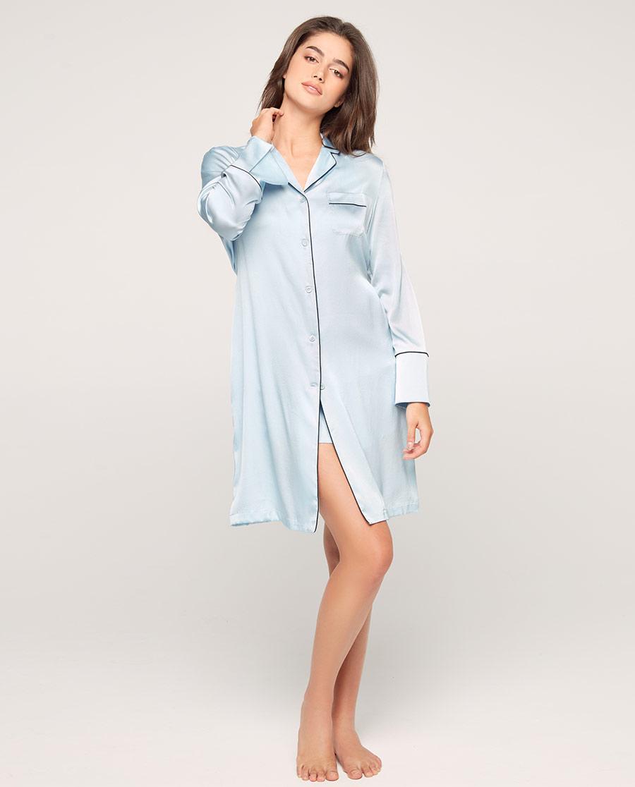 Aimer睡衣|爱慕丝享家长袖中长衬衫裙AM445571