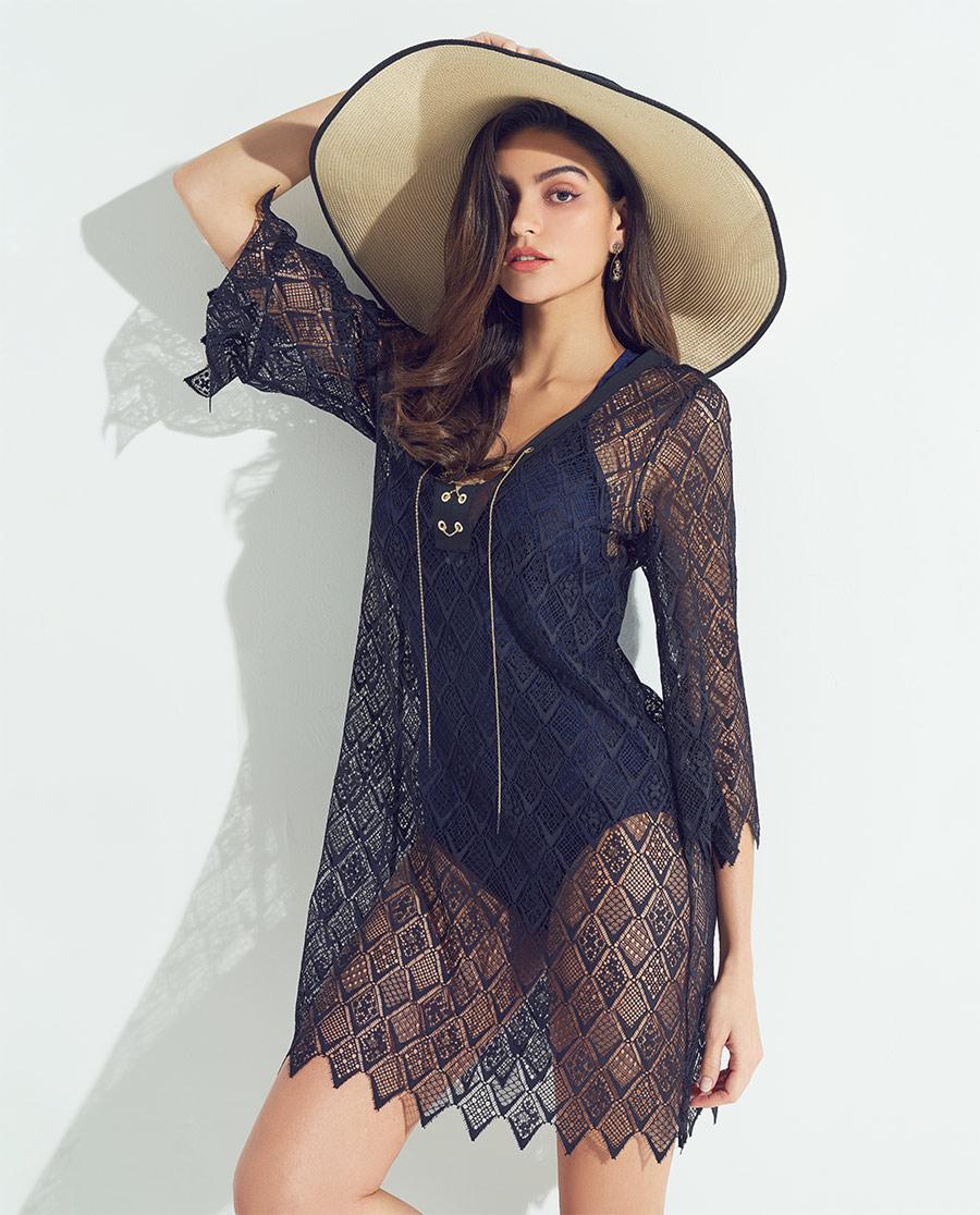 Aimer泳衣|爱慕Bodysuit前中系绳蕾丝沙滩裙A