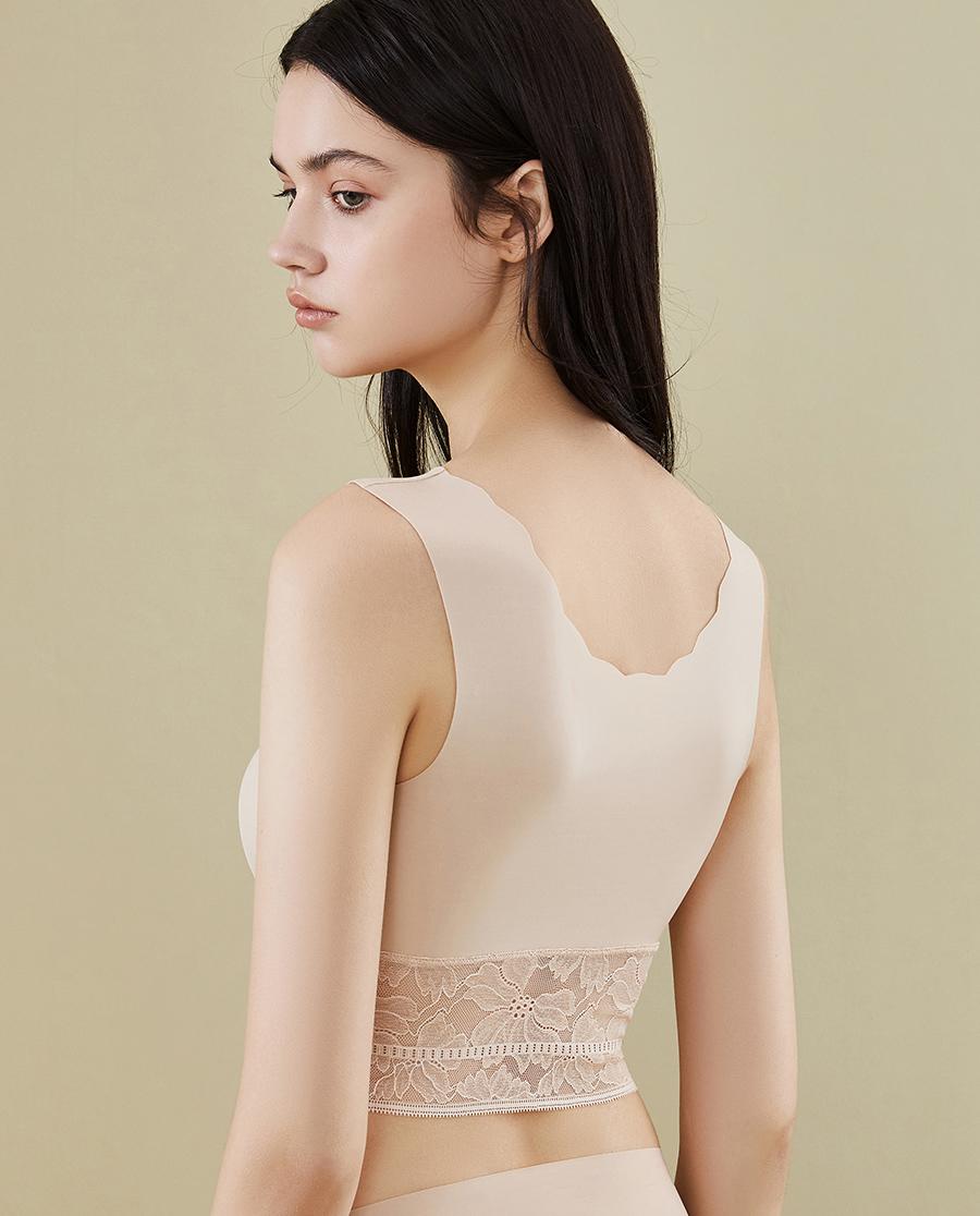 HUXI文胸|无痕背心式文胸 蕾丝下摆隐孔洞杯