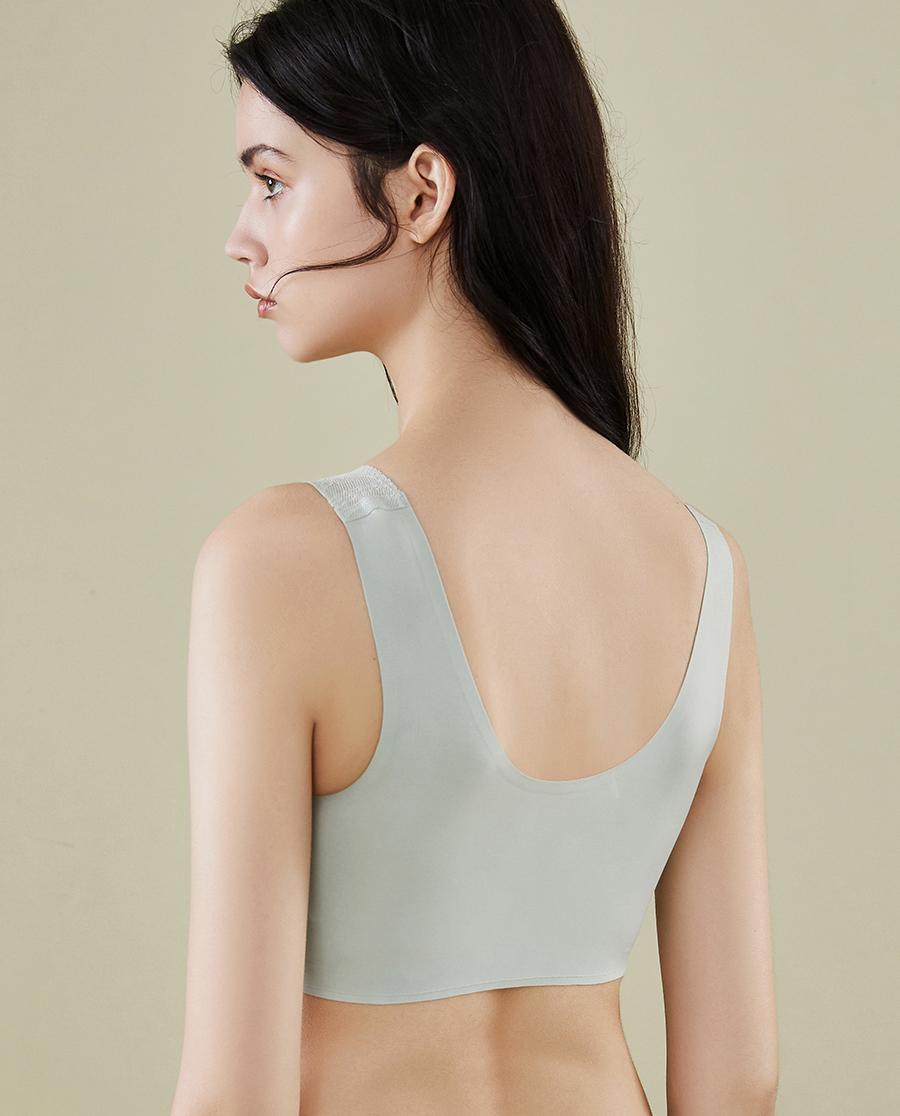 HUXI文胸|叶脉 蕾丝无痕背心式文胸 隐孔洞杯