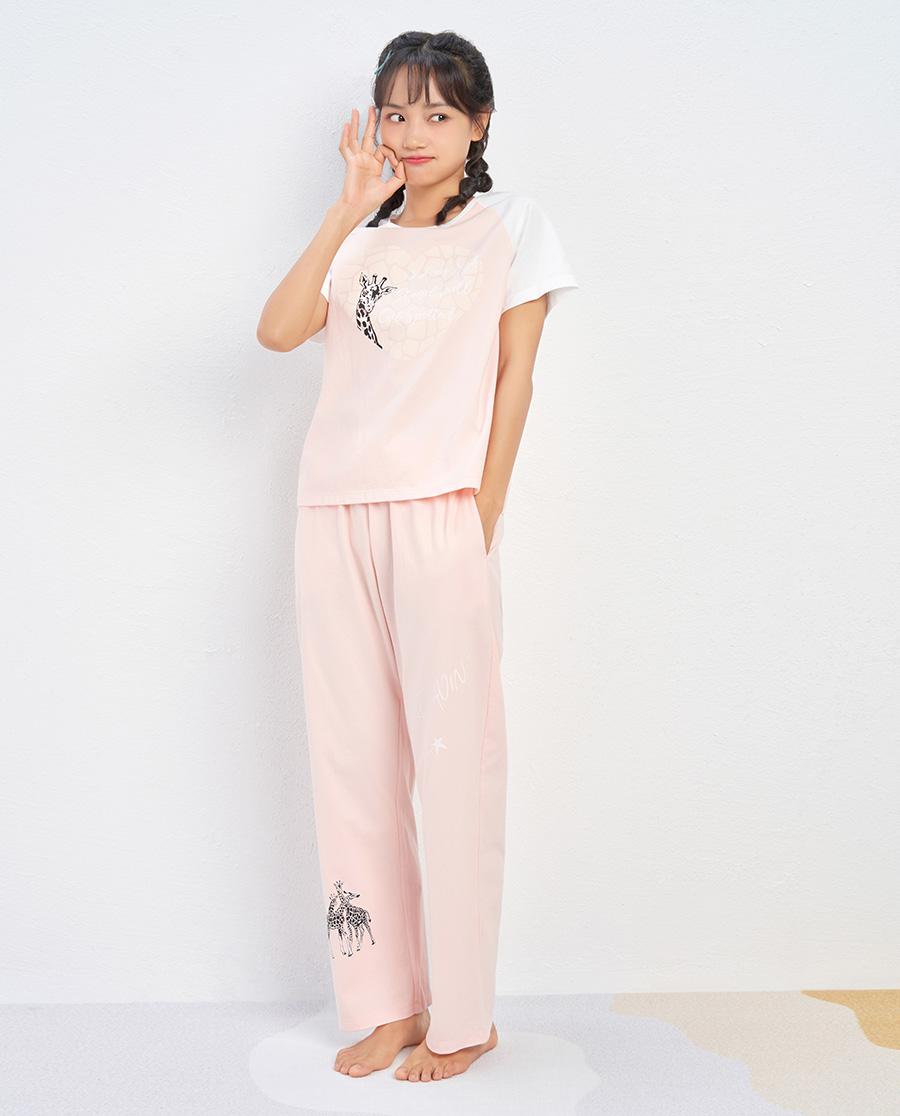 IMIS睡衣 爱美丽爱心长颈鹿棉质圆领套头短袖长裤套装IM46BCS1