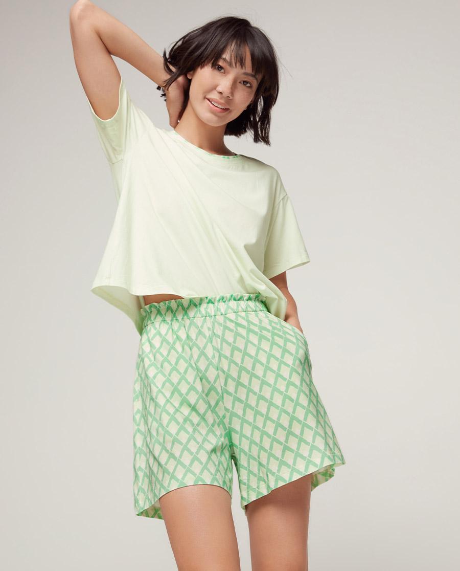 Aimer睡衣|爱慕美棉格调短袖短裤套装AM465582