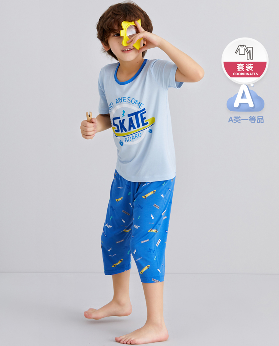 Aimer Kids睡衣 爱慕儿童滑板玩家男孩短袖上衣七分裤套装AK2435222