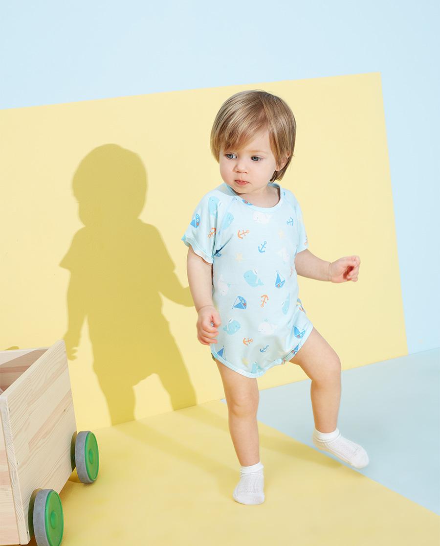 Aimer Baby睡衣 爱慕婴儿趣味海洋男婴幼短袖无腿连体爬服A