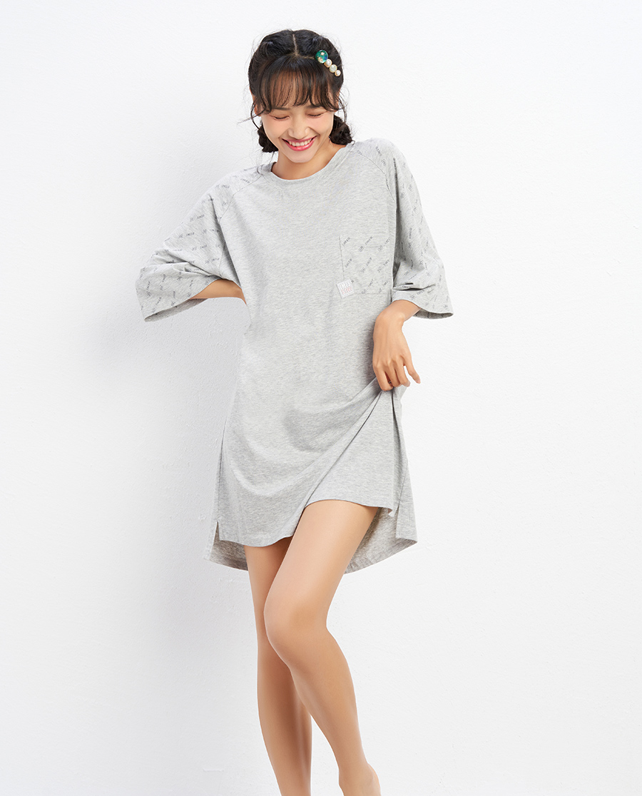 IMIS睡衣|爱美丽线性字母圆领短袖睡裙IM44BBJ
