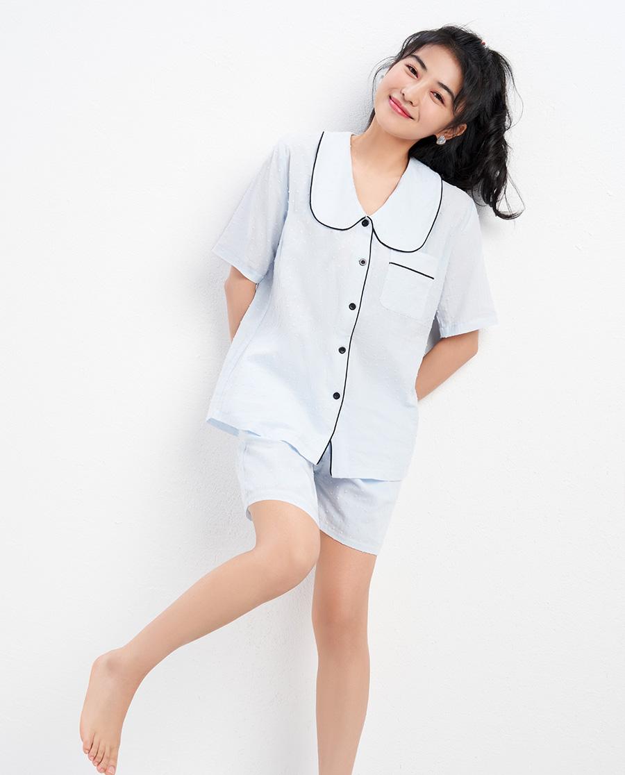 IMIS睡衣|爱美丽云之彼端翻领短袖短裤套装IM46B