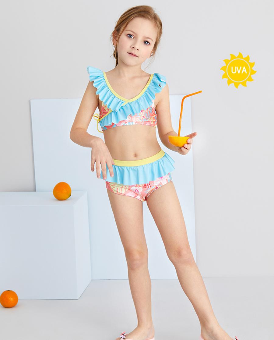 Aimer Kids泳衣 爱慕儿童花海鱼女孩分身泳衣AK16751