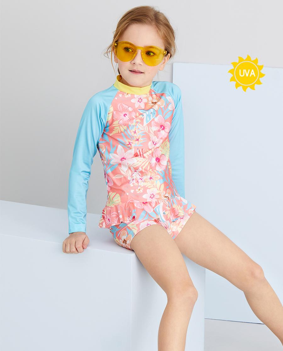 Aimer Kids泳衣 爱慕儿童花海鱼女孩长袖泳衣套装AK167