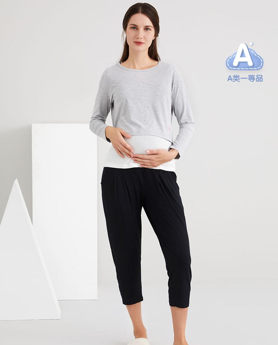 Aimer mommy睡衣|爱慕妈咪爱之源女士长袖带杯哺乳上衣MM1