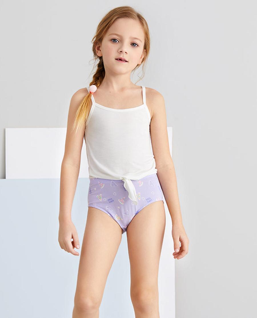 Aimer Kids内裤|爱慕儿童天使小裤MODAL印花女孩紫色披
