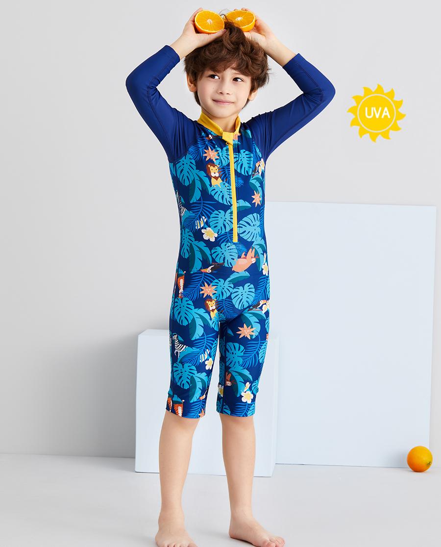 Aimer Kids泳衣 爱慕儿童丛林拍档男孩长袖连体泳衣AK26