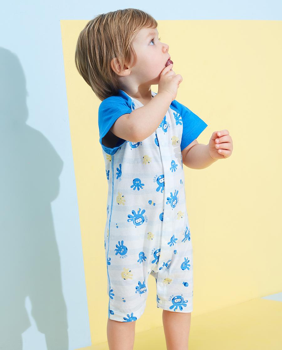 Aimer Baby睡衣 爱慕婴儿章鱼小家伙男婴幼短袖短裤连体爬服
