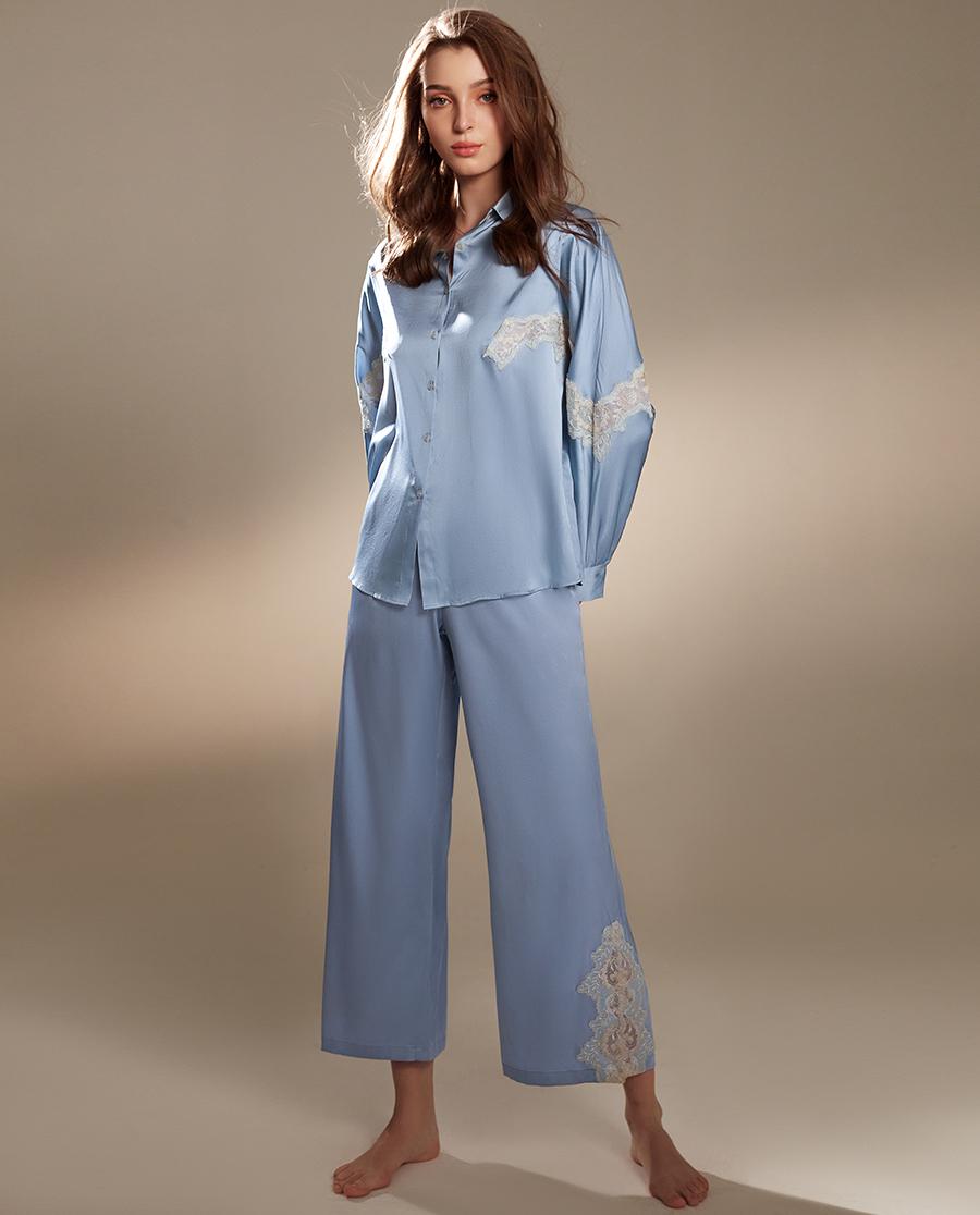 La Clover睡衣|兰卡文浪漫时光系列真丝长袖上衣LC45Q