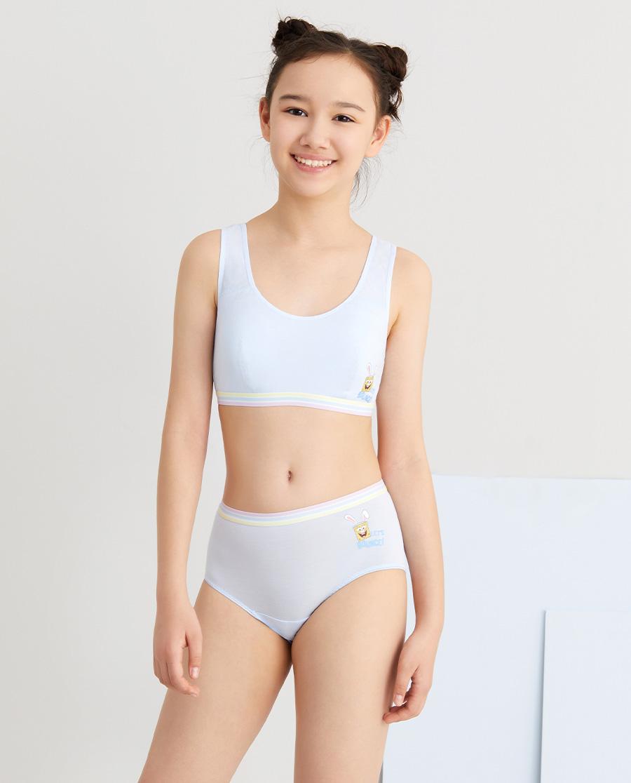 Aimer Junior内裤|爱慕少年海绵宝宝兔少女装腰中腰平角裤AJ