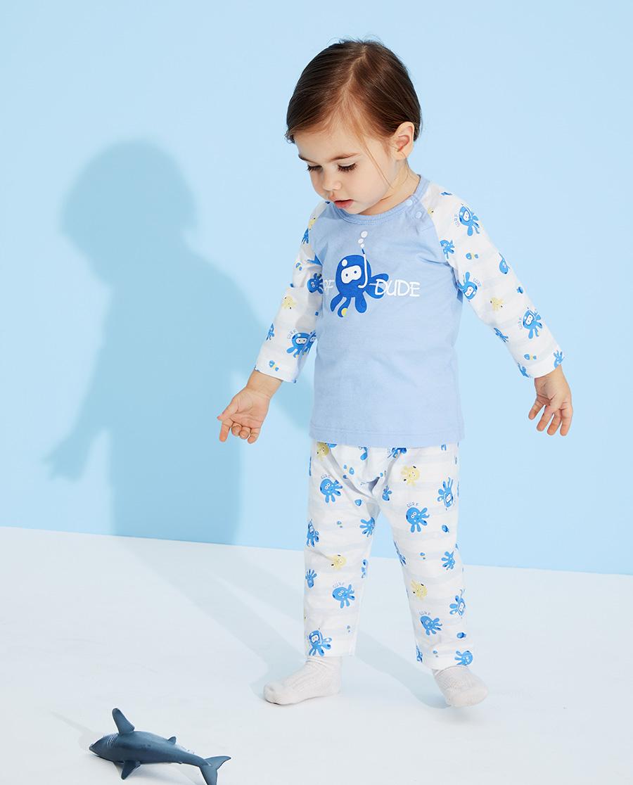 Aimer Baby睡衣 爱慕婴儿章鱼小家伙男婴幼套头长袖睡衣AB