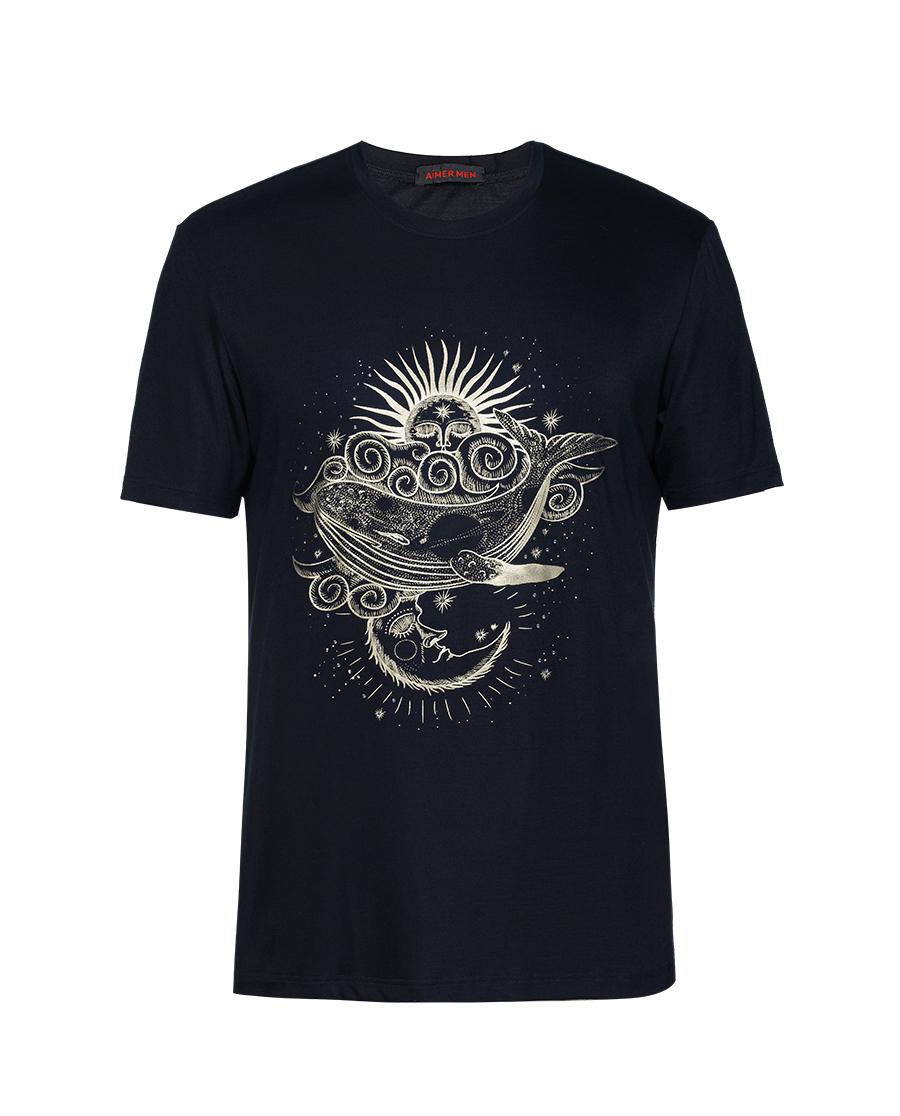 Aimer Men睡衣|爱慕先生21SS限量创意T恤黑色烫钻鲸鱼