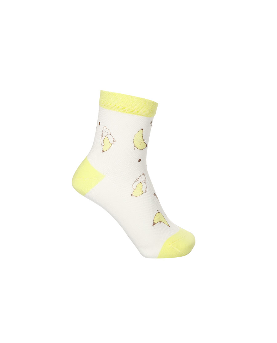 Aimer Kids袜子|爱慕儿童21SS袜子女孩香蕉兔印花网眼短