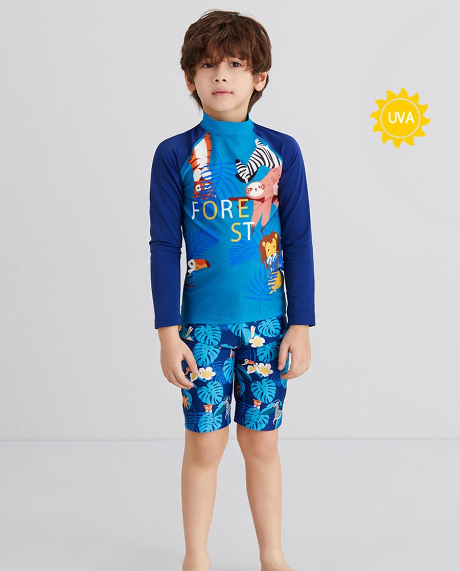 Aimer Kids泳衣 爱慕儿童丛林拍档男孩长袖泳衣AK2675