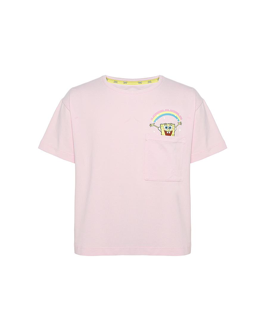 Aimer Kids睡衣|爱慕儿童海绵宝宝派大星女孩套头短袖上衣A