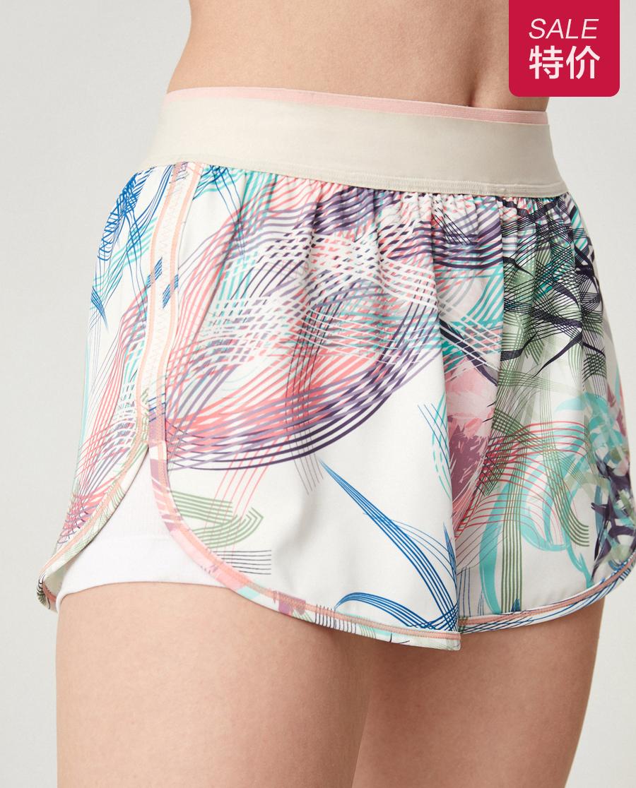 Aimer Sports运动装|爱慕运动iMOVE印花跑步短裤两件套AS151G31