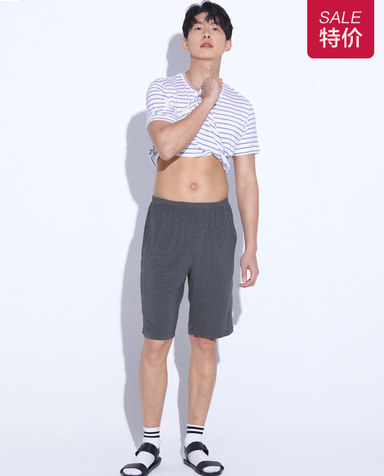 Body Wild睡衣|宝迪威德轻松条纹花灰五分裤ZBN42NA1
