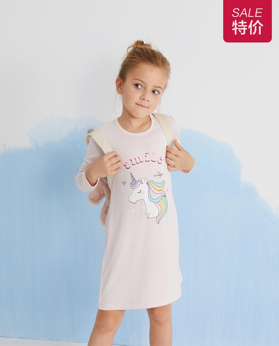 Aimer Kids睡衣 爱慕儿童梦幻天马女孩长袖睡裙AK1444011