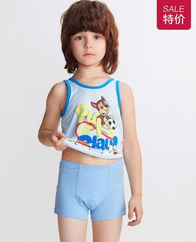 Aimer Kids内裤|爱慕儿童天使小裤棉氨纶汪汪队蓝色毛毛中腰平角裤AK2231933