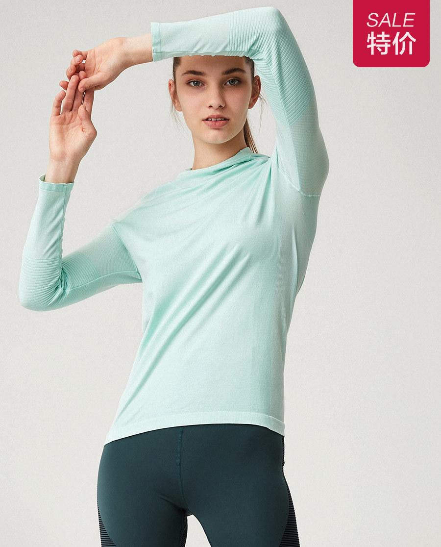 Aimer Sports运动装|爱慕运动动感线条一体织带帽长袖T恤AS144G32