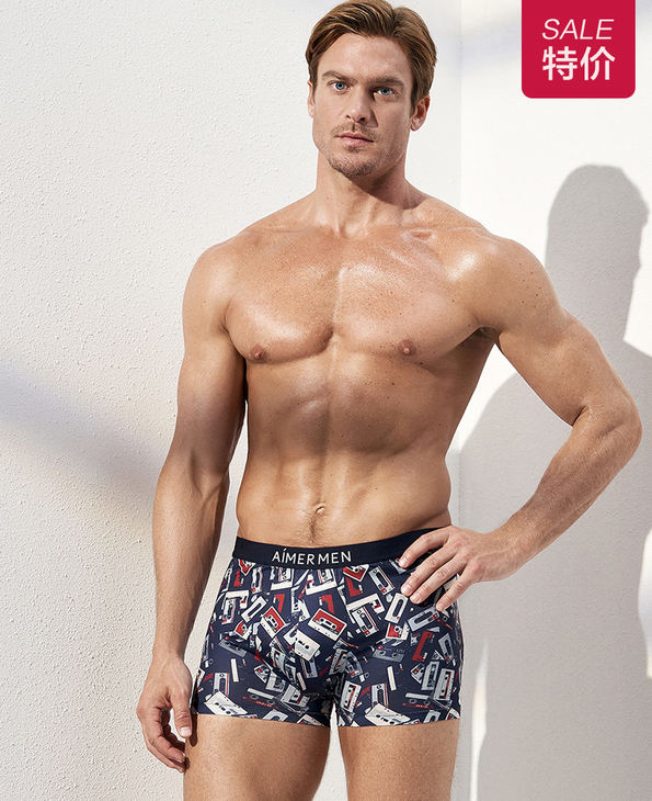 Aimer Men内裤|爱慕先生时尚happy裤中腰平角内裤NS23C311