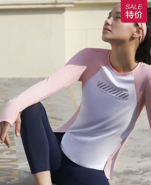 Aimer Sports运动装|爱慕运动美力领跑圆领跑步长袖T恤AS144H34