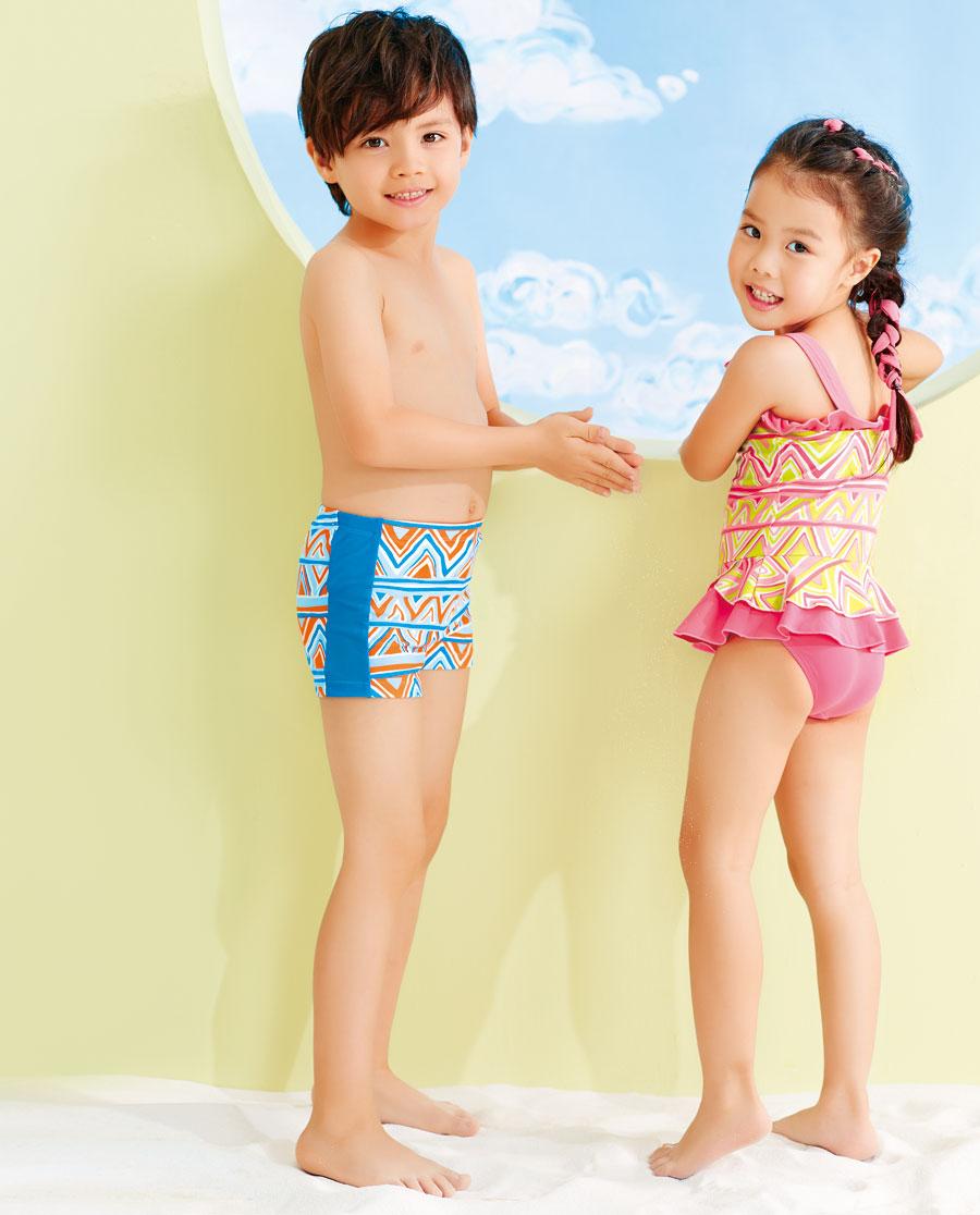 爱慕儿童炫彩几何小男孩平角裤泳裤ak267k71-爱慕