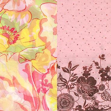鲜亮的花朵的图案,时尚大气,粉色点点搭配涂鸦感花朵图案,可爱而富有